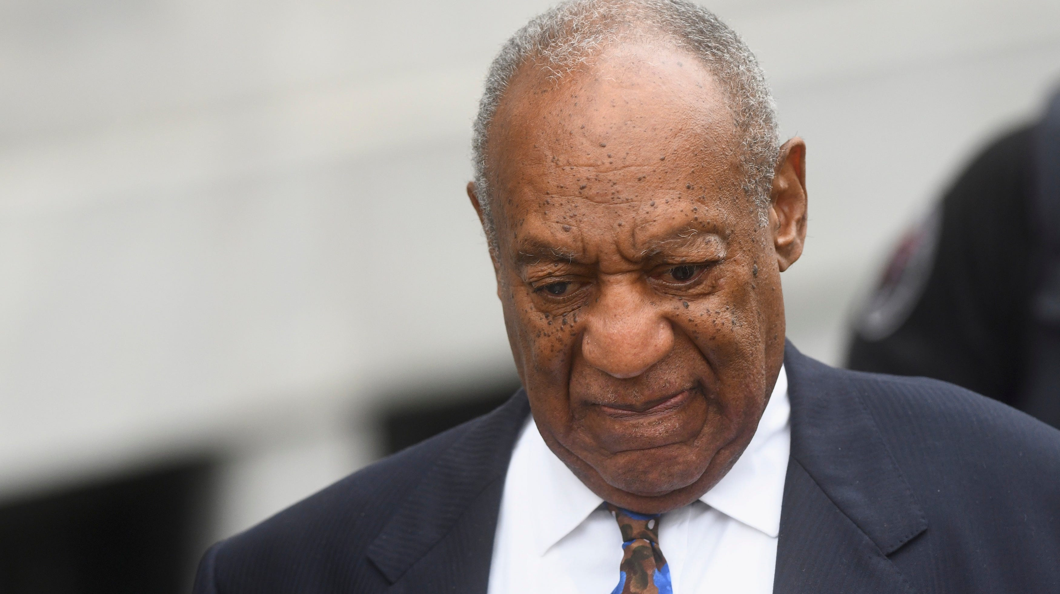 Bill Cosby Monday leaves the first day of a sentencing hearing related to his sexual assault conviction in April. The hearing is scheduled to resume Tuesday.