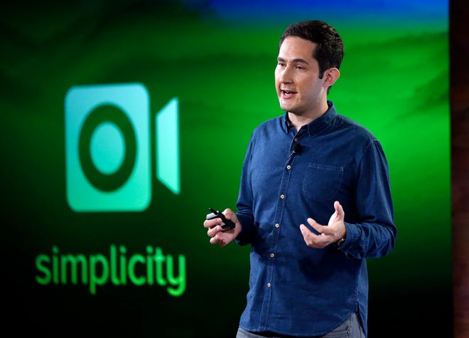 Instagram founder Kevin Systrom talks about an added video feature to the Instagram program at Facebook headquarters in Menlo Park, Calif., Thursday, June 20, 2013. (AP Photo/Marcio Jose Sanchez) ORG XMIT: CAMS108