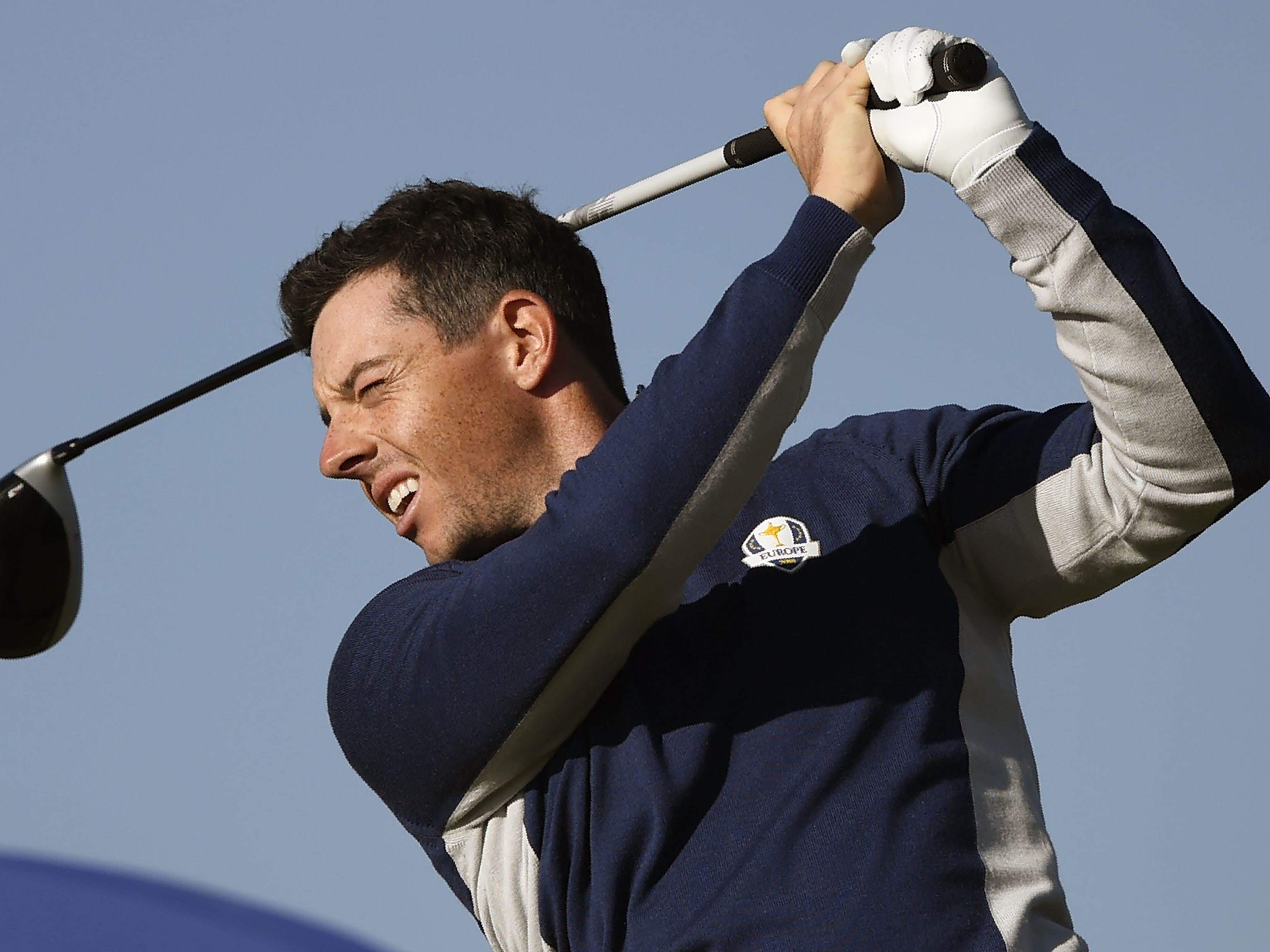 Rory McIlroy plays a tee shot during a practice session ahead of the 42nd Ryder Cup.