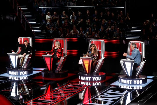 "THE VOICE -- ""Blind Auditions"" Episode 1501 -- Pictured: (l-r) Adam Levine, Kelly Clarkson, Jennifer Hudson, Blake Shelton -- (Photo by: Trae Patton/NBC)"