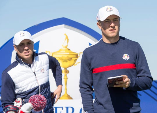 Jordan Spieth and Justin Thomas on the 13th hole during a Ryder Cup practice round at Le Golf National on Sept. 25.