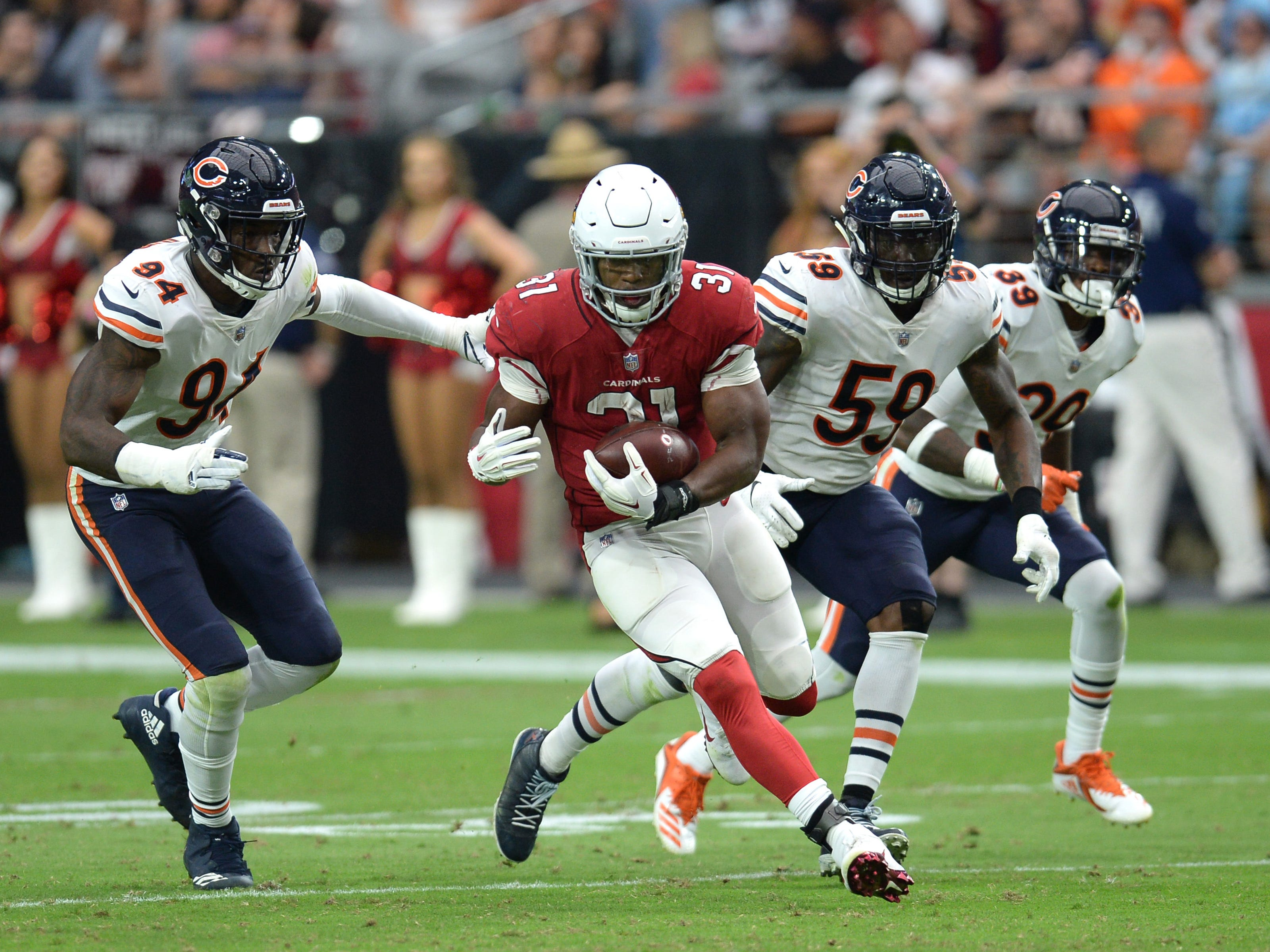 32. Cardinals (32): David Johnson once talked about getting 1,000 yards rushing and receiving in same year. He's on pace to top 300-300 plateau in '18.