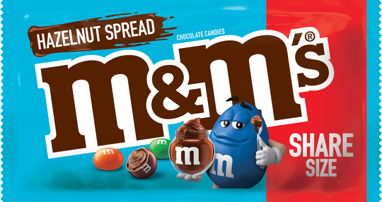 Packaging for hazelnut spread flavored M&M's.