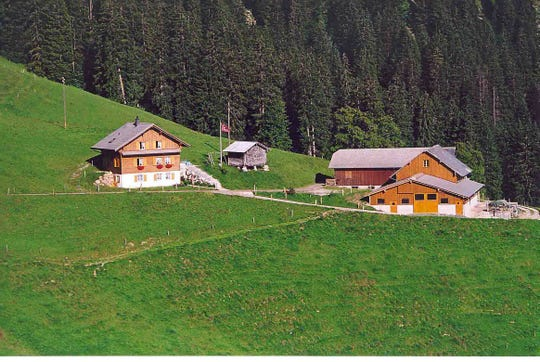 The Barmettlers' summer home and cheesemaking facility on Alp Bleiki.