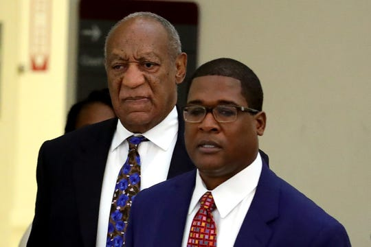 "After the sentencing, Cosby spokesman Andrew Wyatt, seen to his right as they arrived for court Monday, called his client's experience ""the most racist and sexist trial in the history of the United States."""