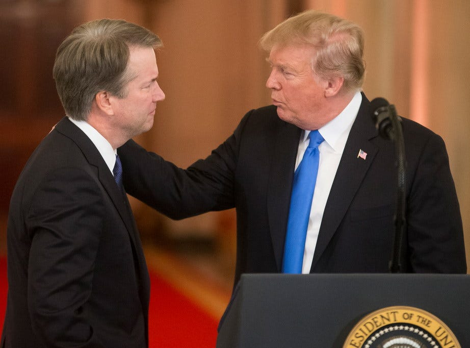 President DonaldTrump announces federal appeals court judge Brett Kavanaugh as his nominee to the Supreme Court, Washington, DC, July 9, 2018.