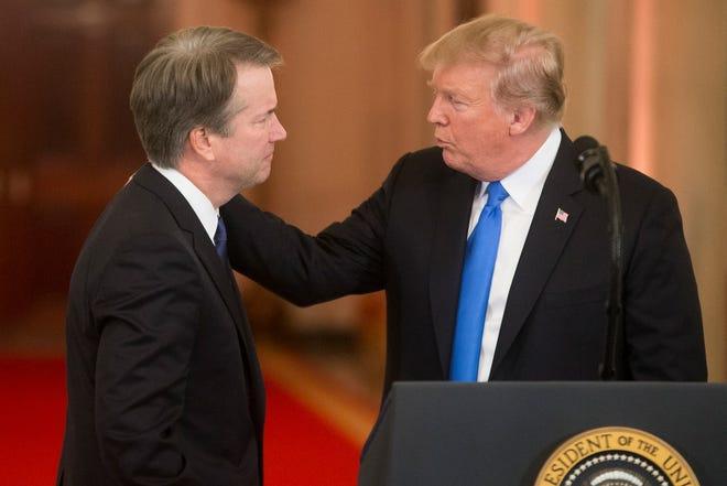 President DonaldTrump announces federal appeals court judge Brett Kavanaugh as his nominee to the Supreme Court, Washington, DC, July 9, 2018.