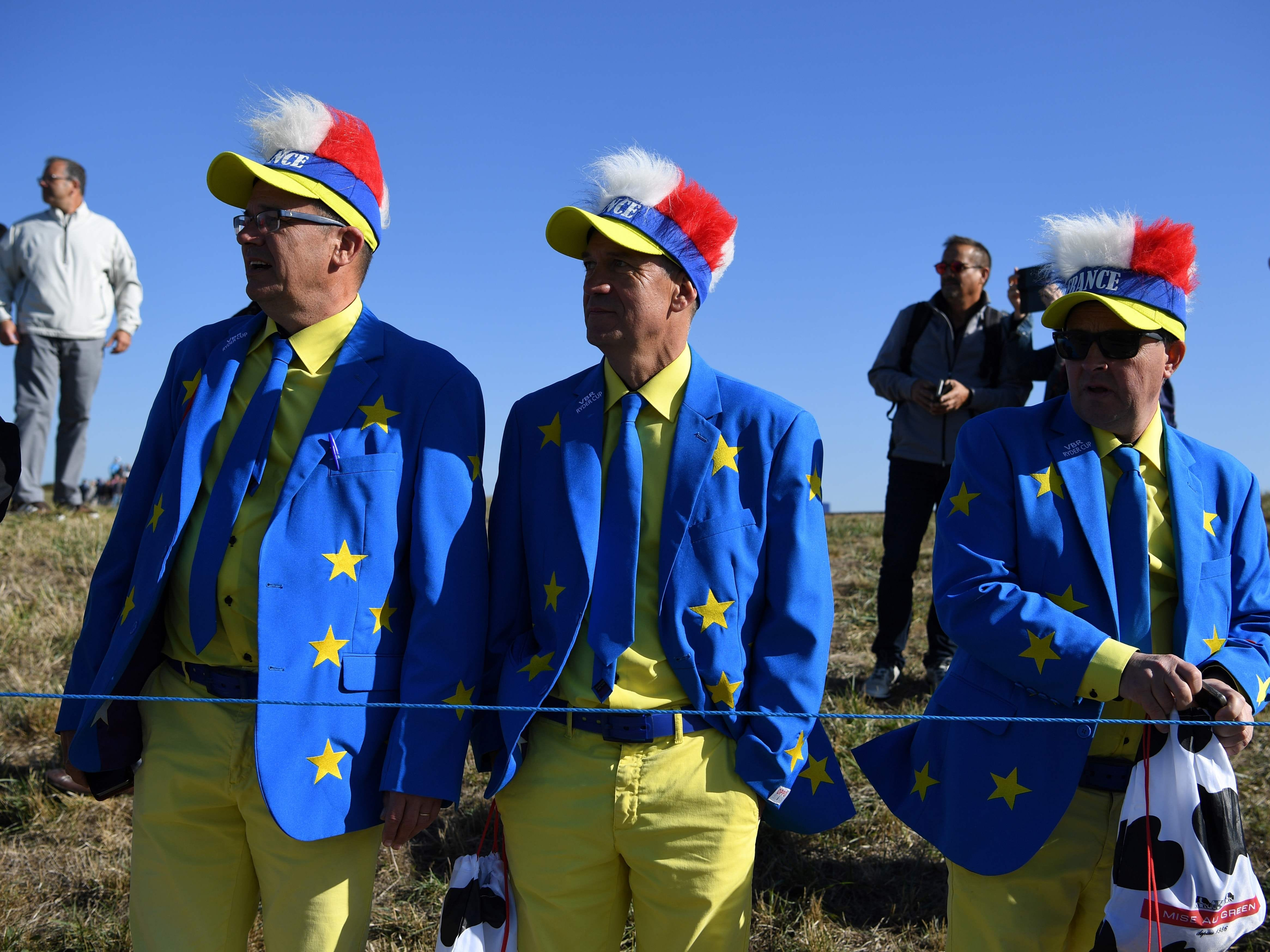 Spectators look on during a practice session ahead of the 42nd Ryder Cup.