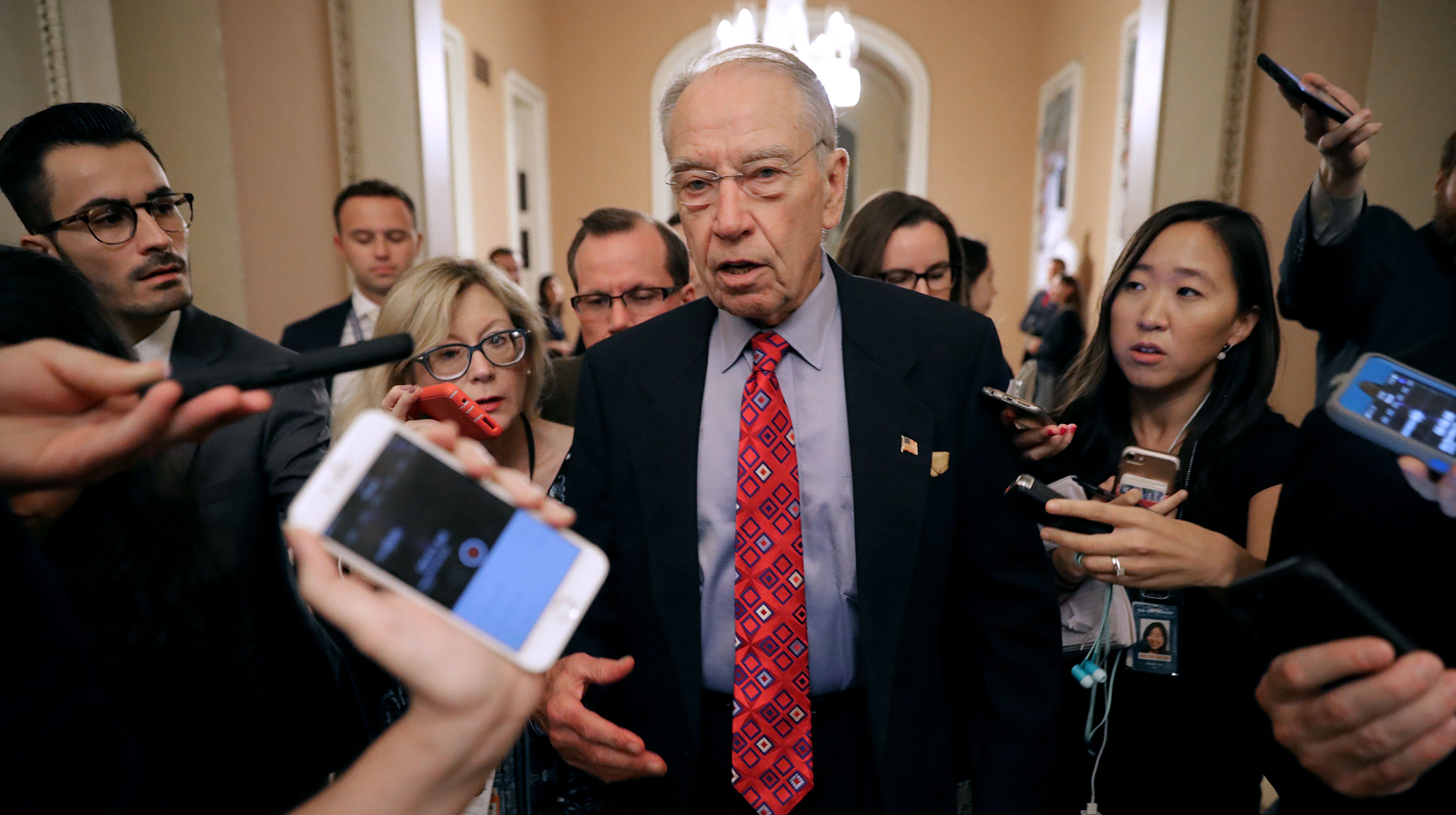 Senate Judiciary Committee Chairman Chuck Grassley, R-Iowa, speaks with reporters as he leaves a meeting in Senate Majority Leader Mitch McConnell's office at the U.S. Capitol on Tuesday.
