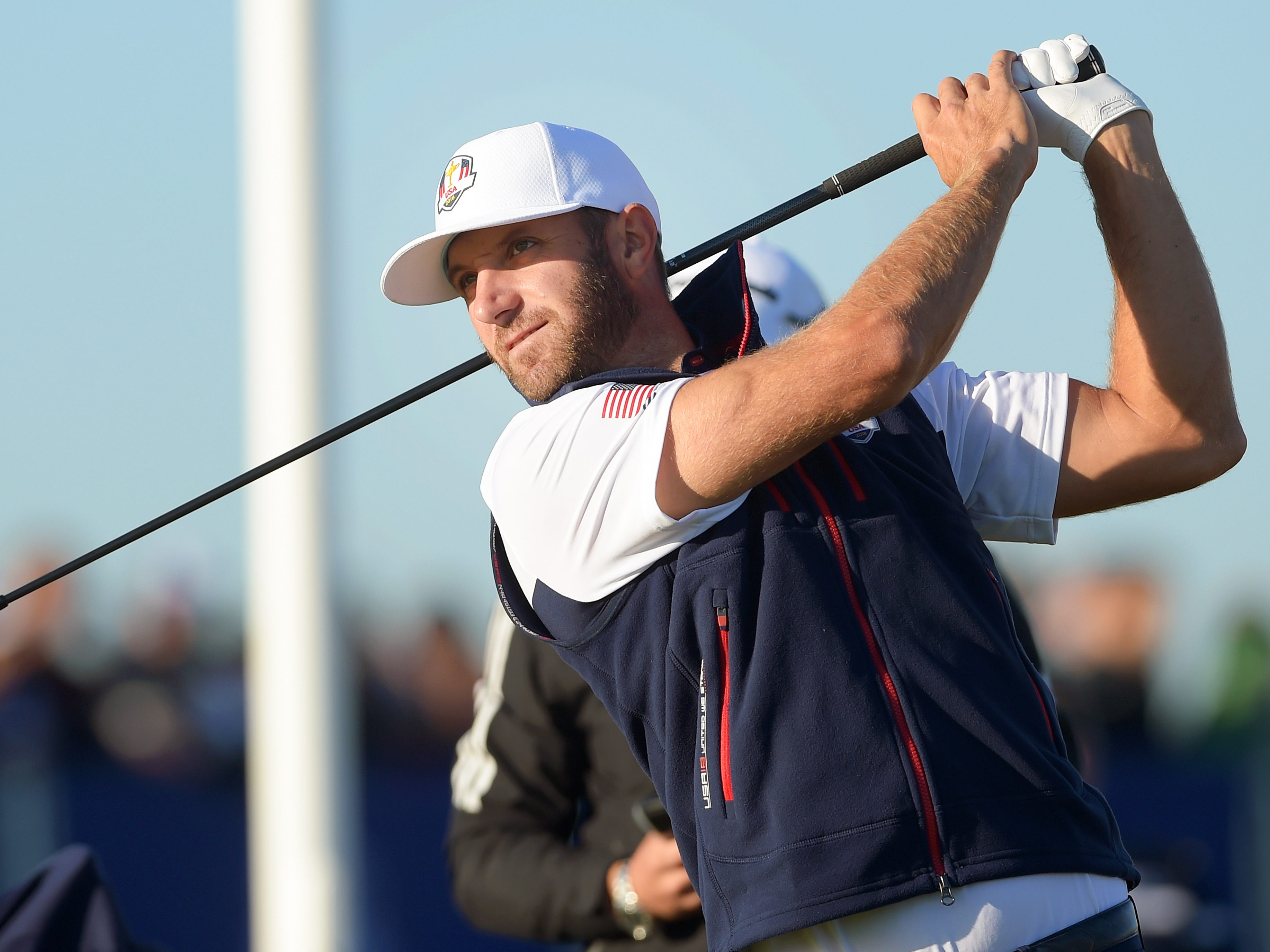 Dustin Johnson of the USA hits a shot during a practice session for the Ryder Cup.