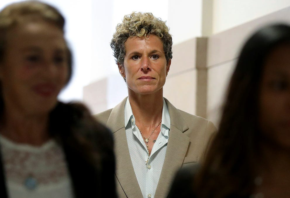 Accuser Andrea Constand returns to the courtroom during a lunch break at the sentencing hearing, Monday, for Bill Cosby.