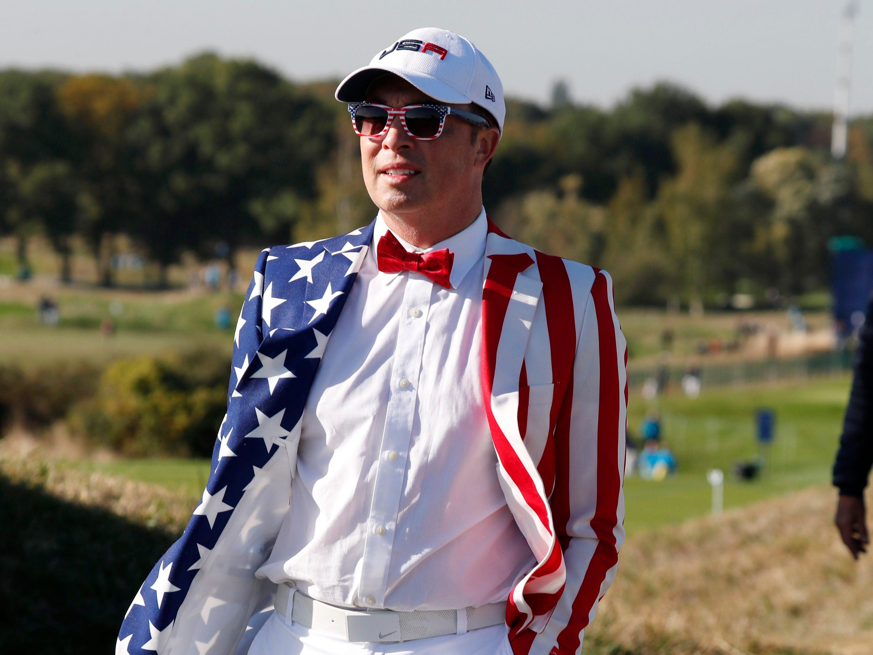 USA fan watches during a Ryder Cup practice round at Le Golf National.