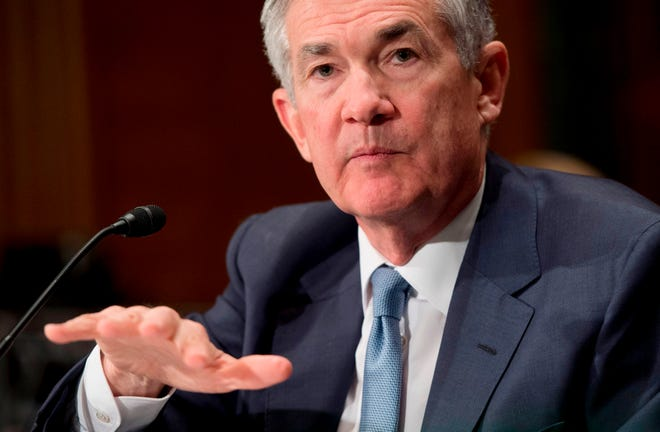 Federal Reserve Board Chairman Jerome Powell testifies during a Senate Banking, Housing and Urban Affairs Committee hearing in Washington, D.C., on March 1, 2018.