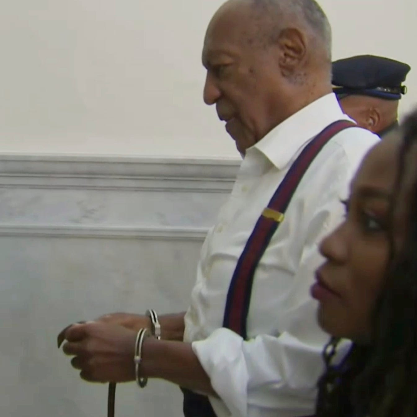 Bill Cosby was led away to prison in handcuffs after being denied bail on the grounds that his sentence is longer than two years.