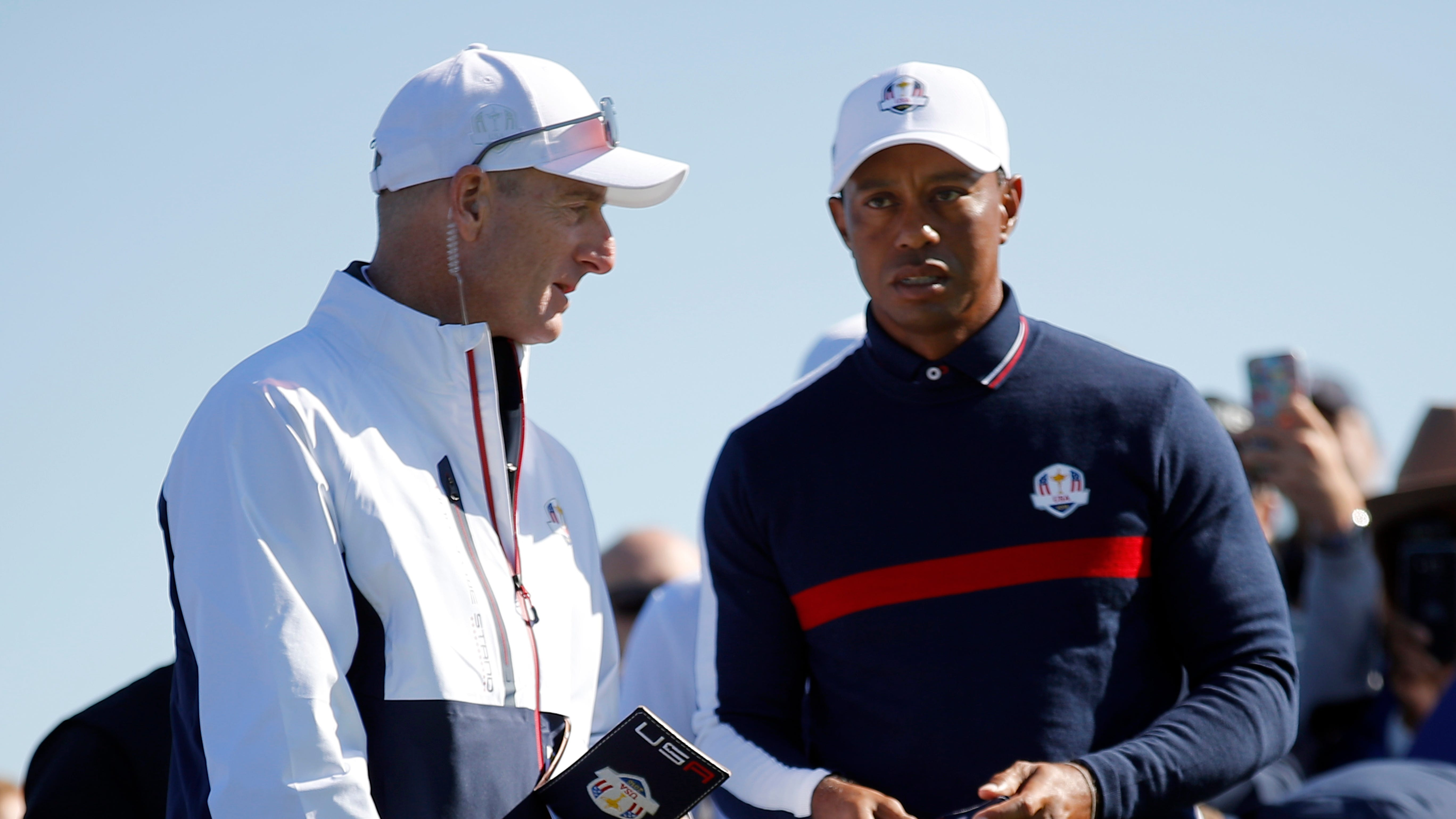 U.S. team captain Jim Furyk, left, stands with Tiger Woods on the ninth tee during a practice session at Le Golf National in Saint-Quentin-en-Yvelines, France, at the Ryder Cup.