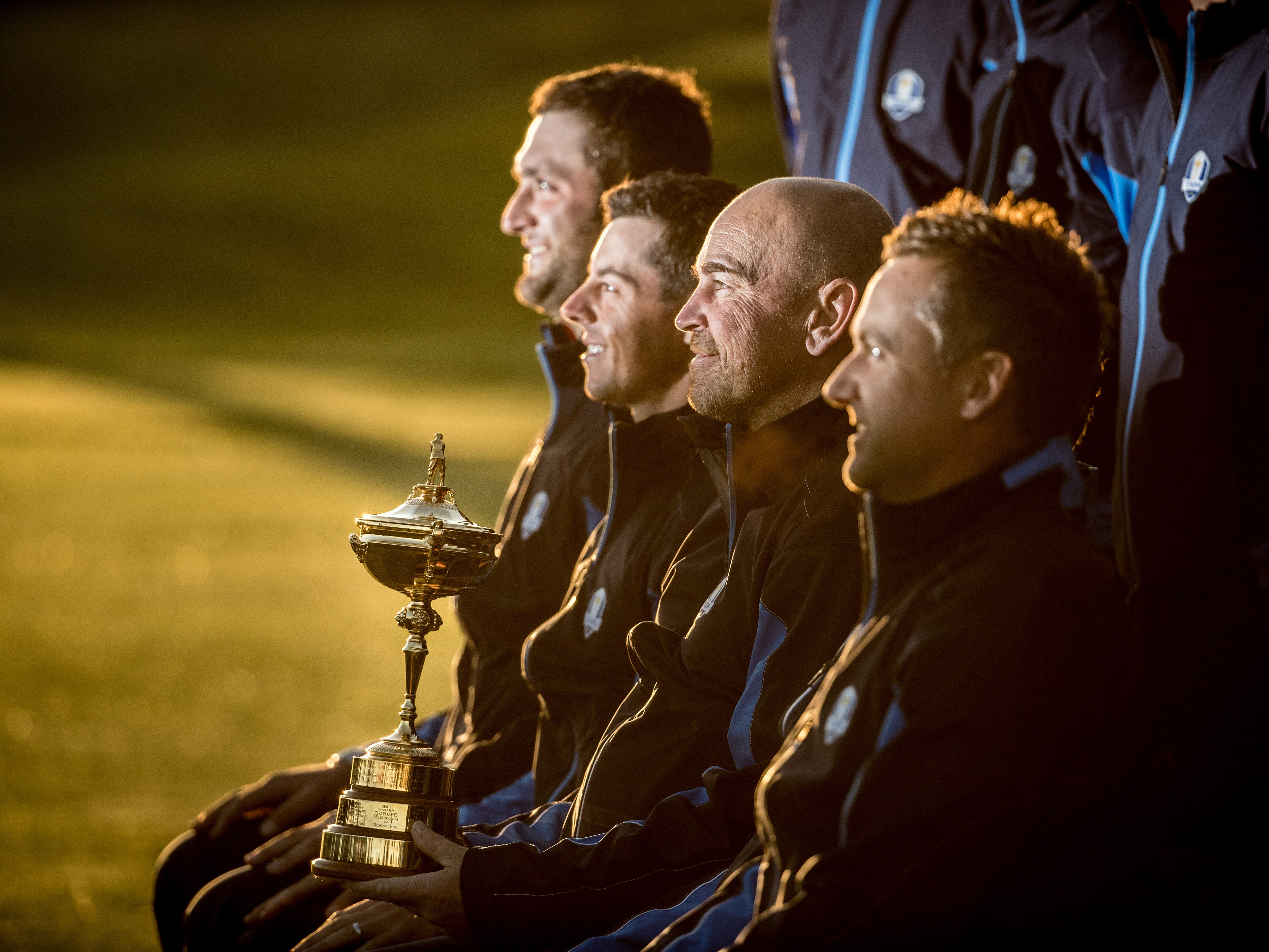 Thomas Bjorn of Europe poses alongside Rory McIlroy, Jon Rahm and Ian Poulter ahead of the 2018 Ryder Cup.