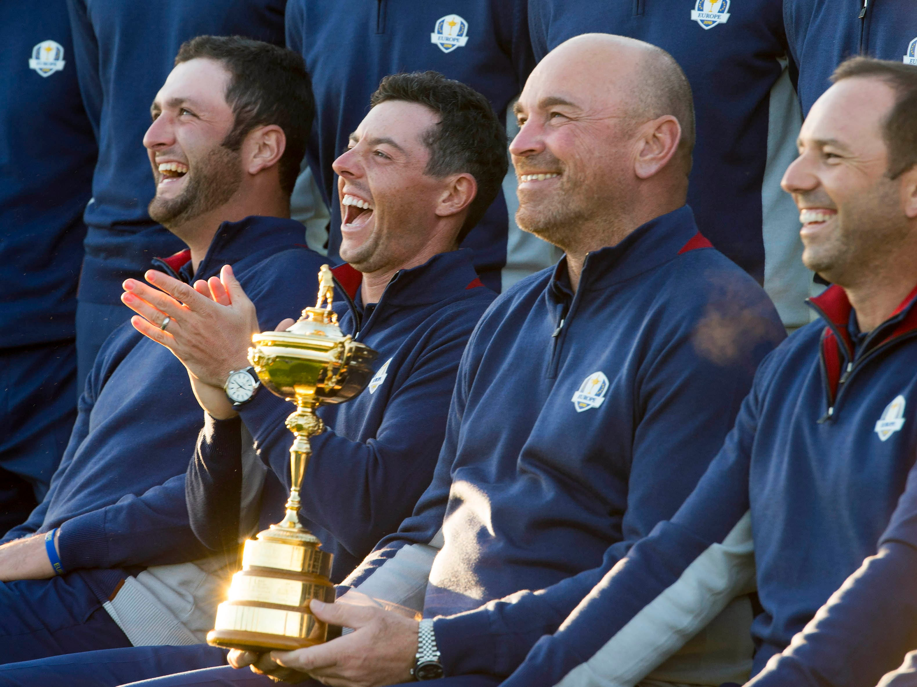 Jon Rahm (left), Rory McIlroy (left center), Thomas Bjorn (right center) and Sergio Garcia (right) enjoy a laugh during the European team photograph session.