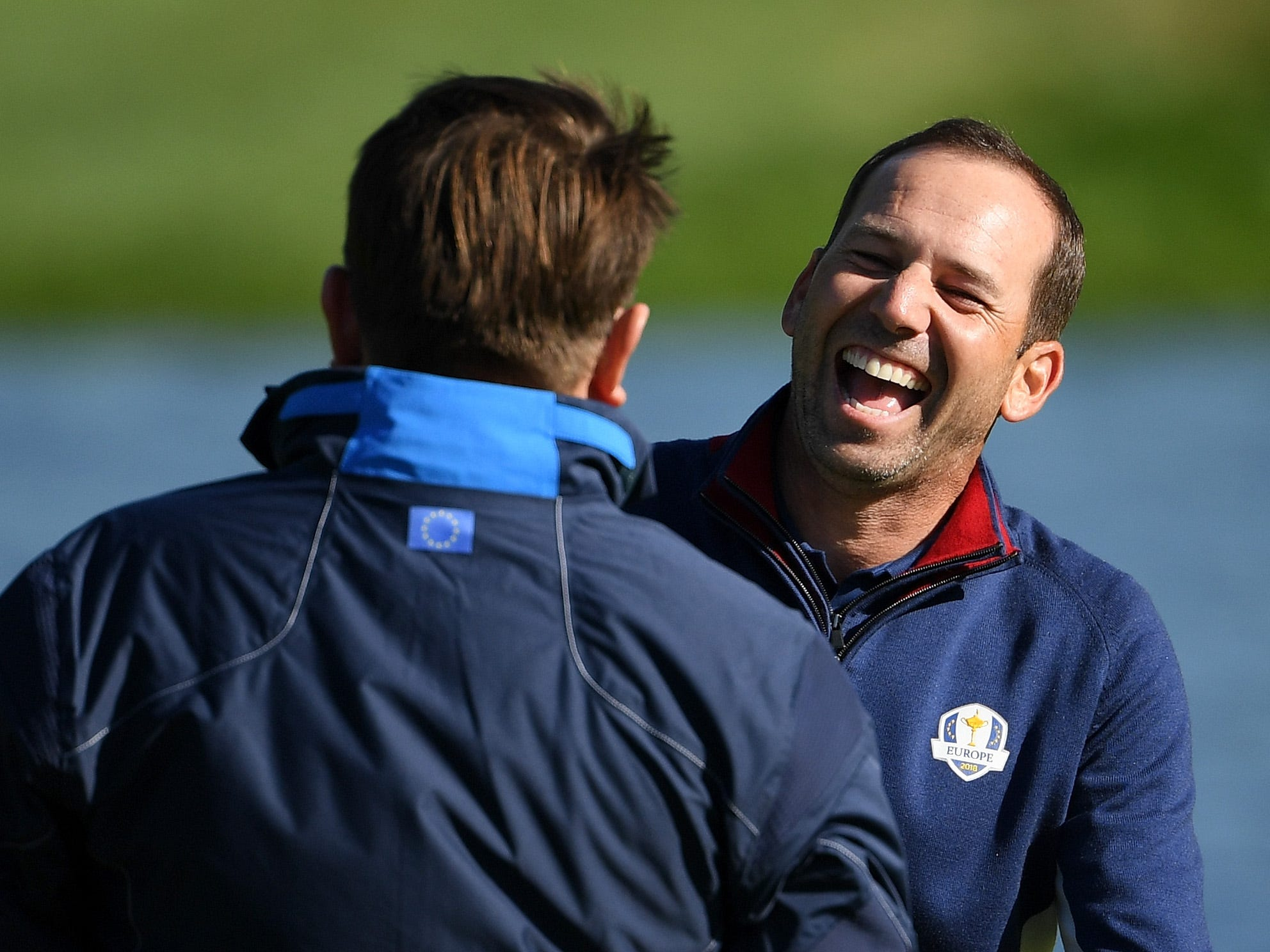 Sergio Garcia of Europe speaks to Ken Comboy ahead of the 2018 Ryder Cup.