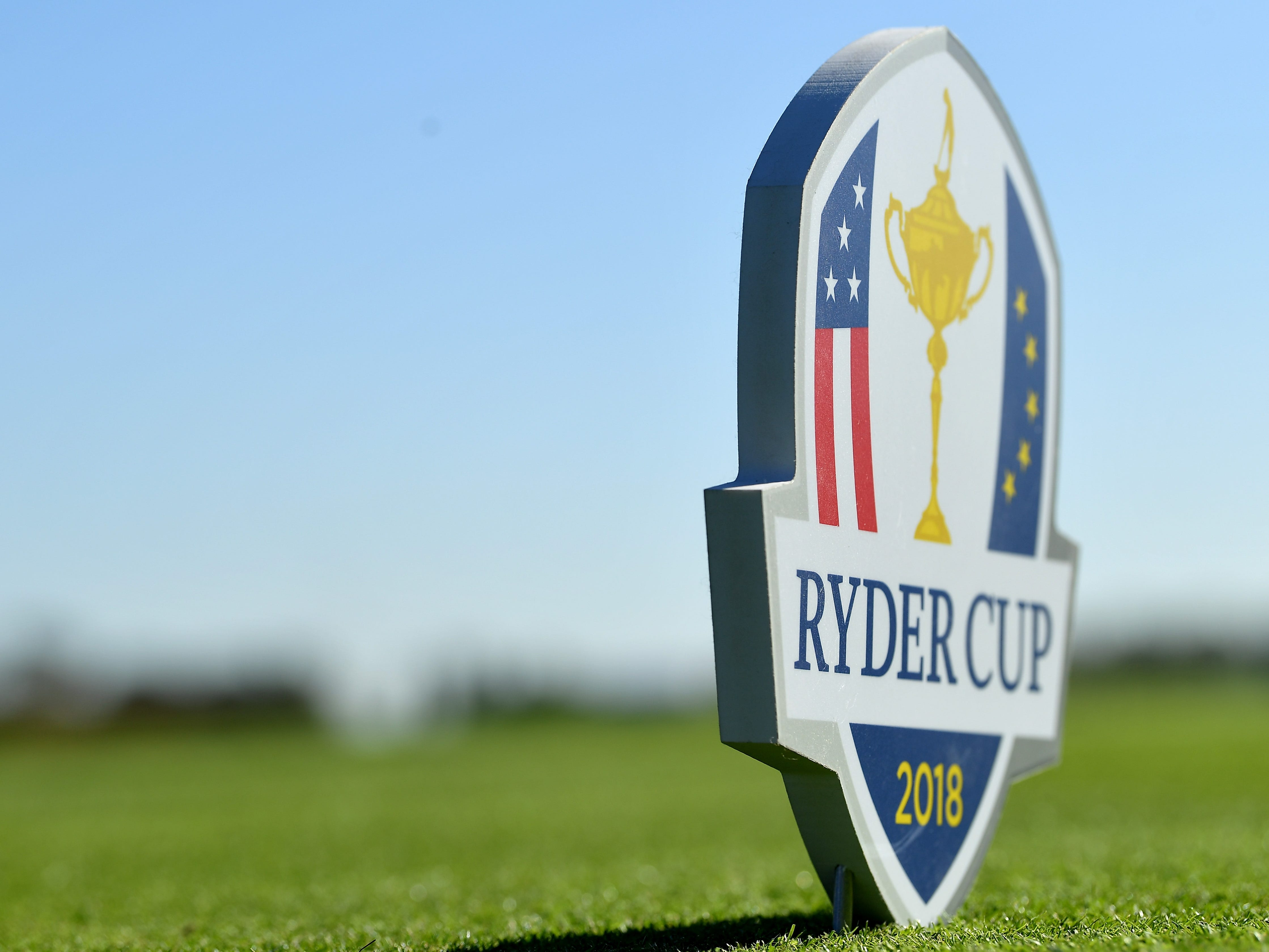 A tee marker set up ahead of the 2018 Ryder Cup.