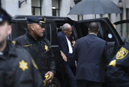 Disgraced comedian Bill Cosby arrives at the Montgomery County Courthouse in Pennsylvania on Tuesday for the second day of a sentencing hearing after his conviction on sexual assault charges in April.
