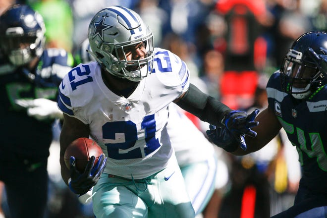 The Cowboys' Ezekiel Elliott ranks eighth among running backs in fantasy points through three weeks, but he's our No. 1 back in Week 4.
