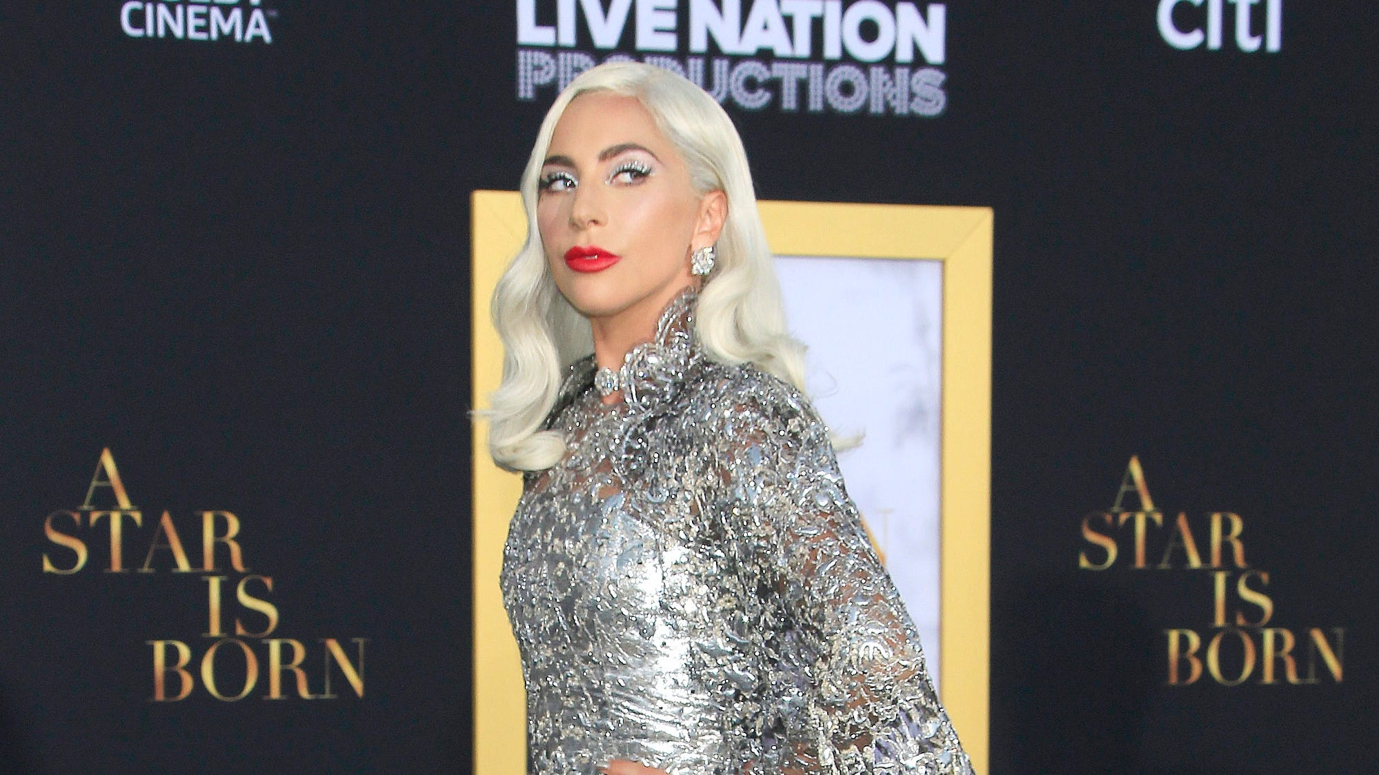 Gaga did not disappoint in a stunning silver gown.
