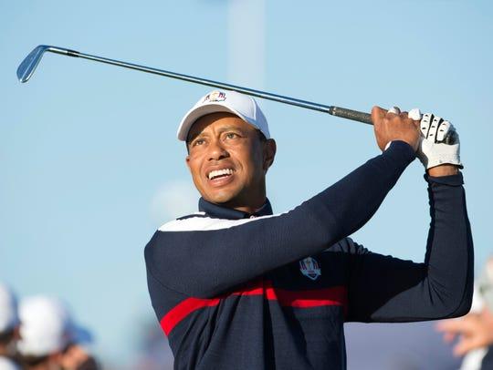 Tiger Woods on the driving range during a Ryder Cup practice round at Le Golf National on Sept. 25.