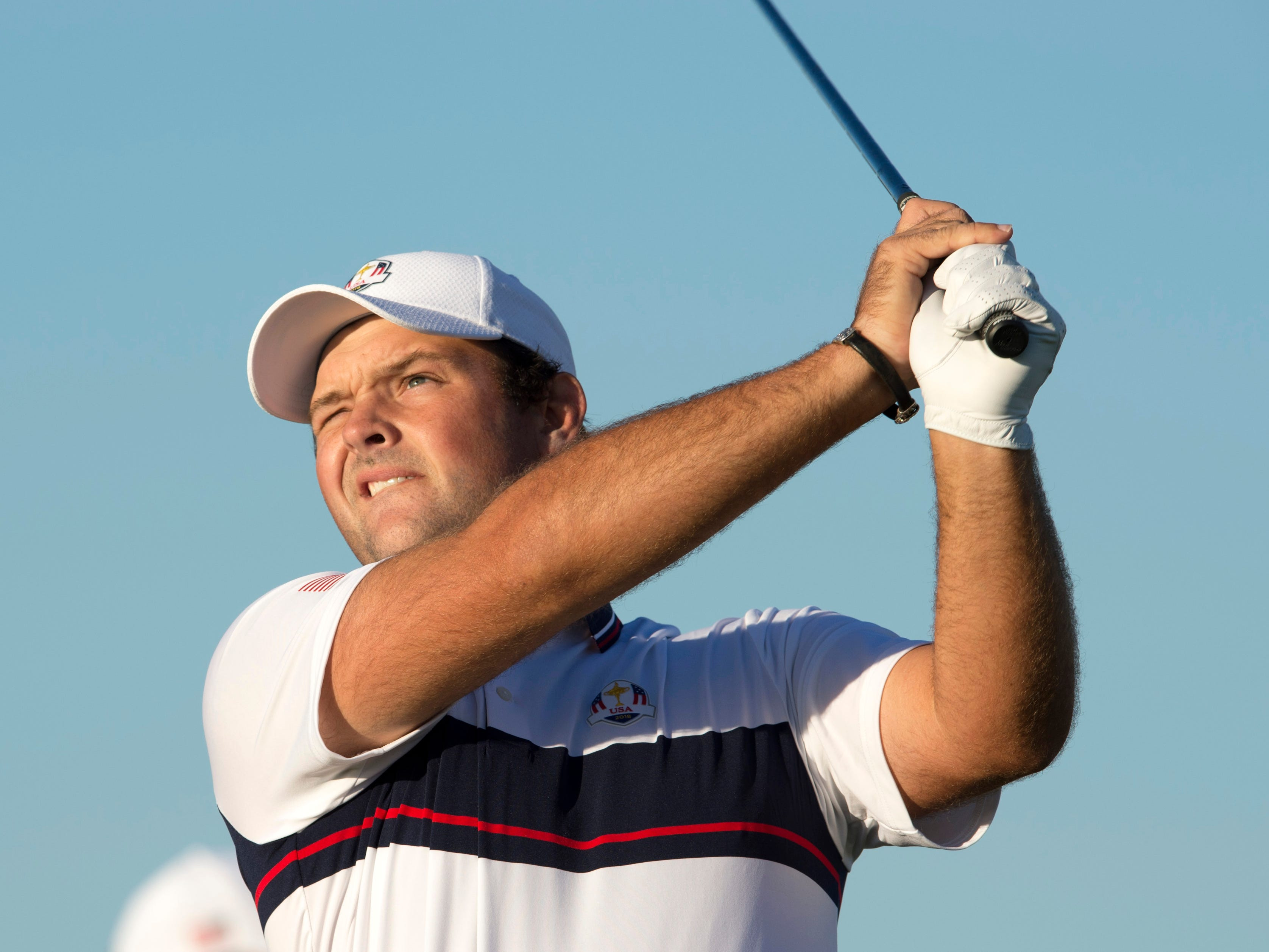Patrick Reed on the driving range during a Ryder Cup practice round at Le Golf National.