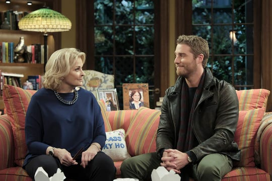 "Candice Bergen as Murphy Brown and Jake McDorman as Avery Brown on ""Murphy Brown."""