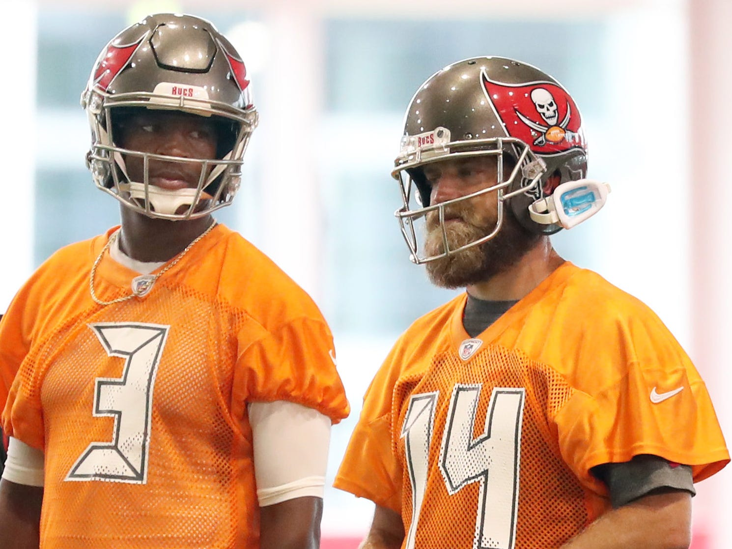 Buccaneers QB Jameis Winston's suspension ended Tuesday. Question now is, when will he get his job back from Ryan Fitzpatrick (14)?