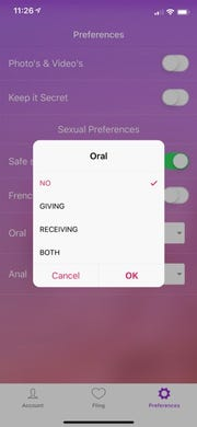 The LegalFling app lets you choose your intimate preferences.
