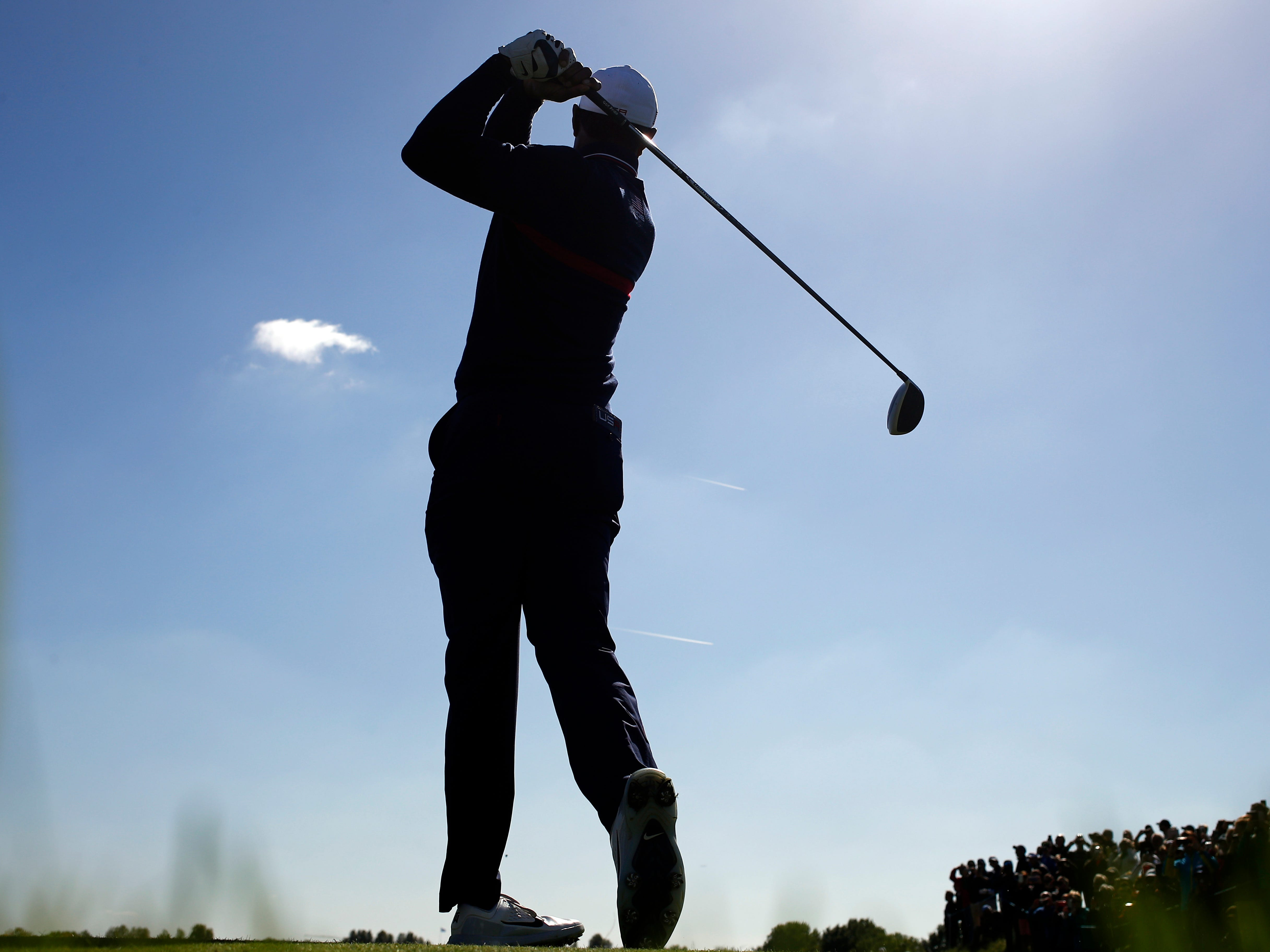 Tiger Woods hits his drive on the 13th hole during a practice session at Le Golf National.