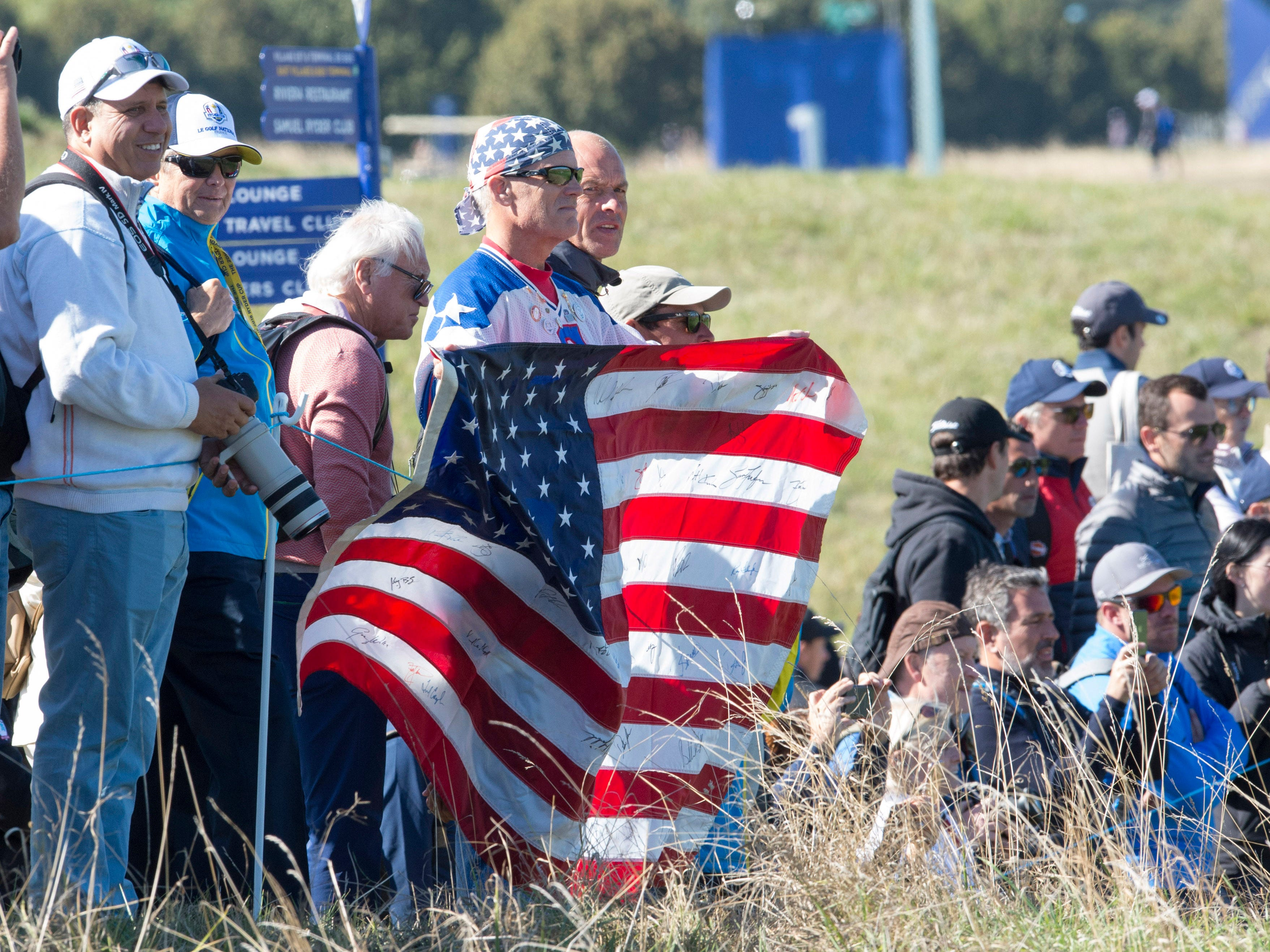 American supporters in the crowd during a Ryder Cup practice.