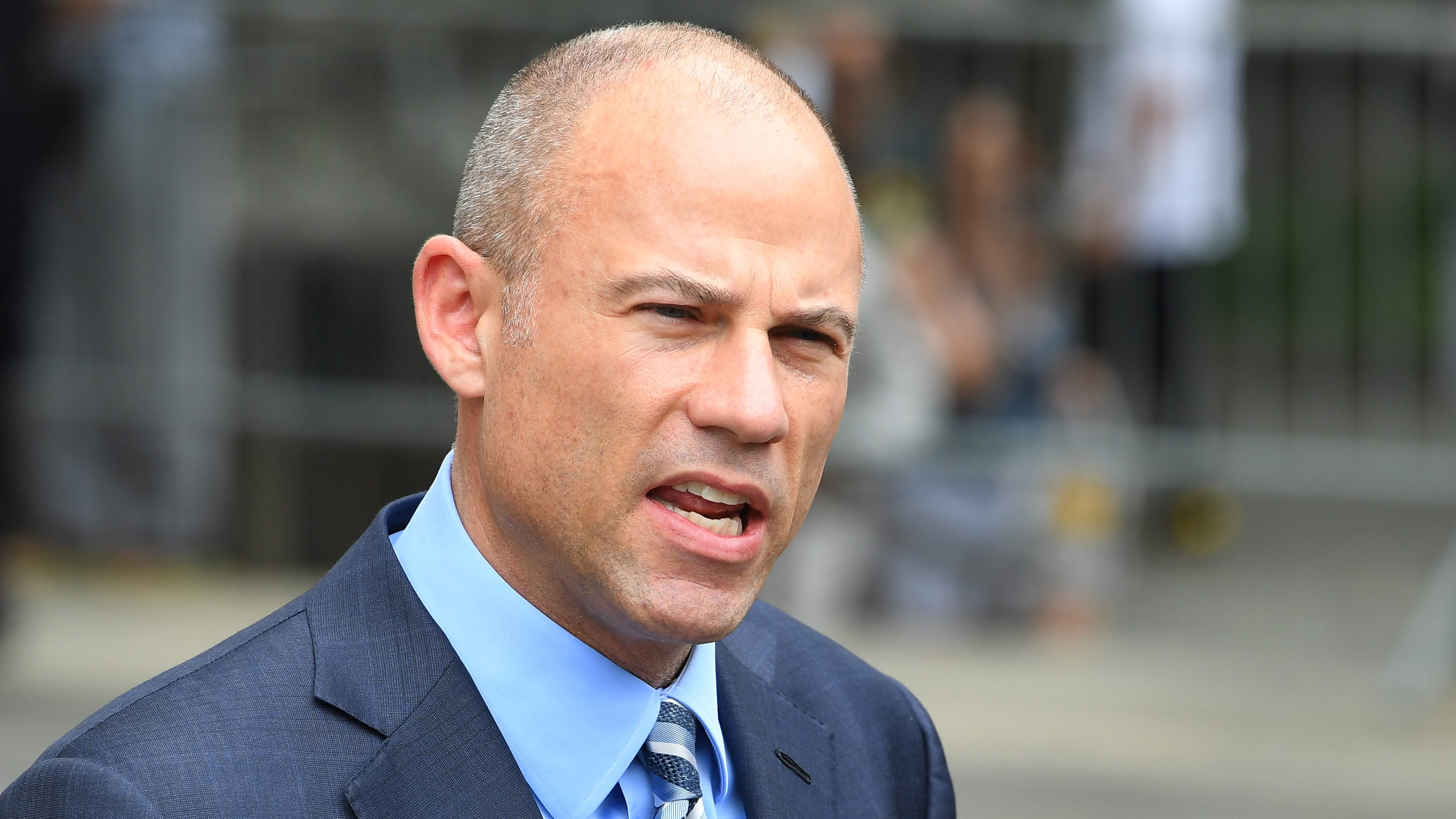Attorney Michael Avenatti leaves court and addresses the media on May 30, 2018 in a case brought by Michael Cohen, President Donald Trump's longtime personal lawyer, to limit prosecutors' review of documents seized from his home and office.