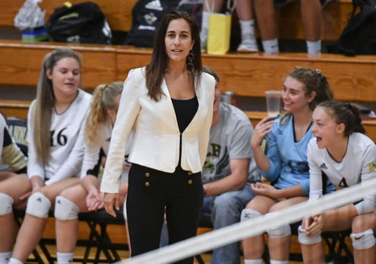 TL Hanna head coach Becky Easton during a Region 1-AAAAA match at TL Hanna High School in Anderson in September.