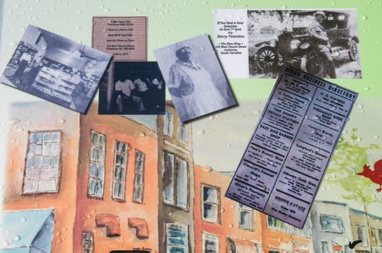 A collage of photographs showing business on Church Street in Anderson before the buildings were demolished, seen in the Church Street Heritage Plaza in Anderson.