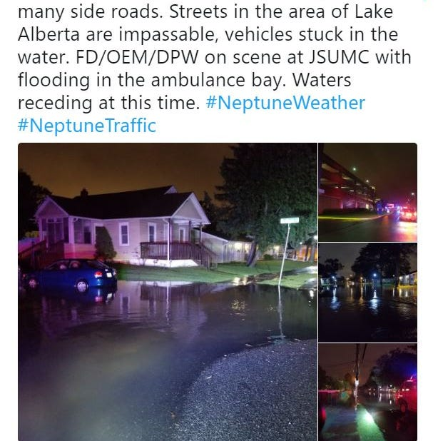 Heavy rain floods parts of Neptune; Jersey Shore University Medical Center impacted