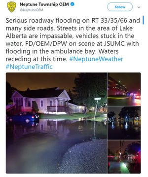A Twitter post from the Neptune Township Office of Emergency Management.