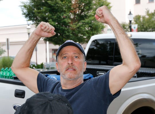 Jon Stewart serves lunch to construction workers and staff at Count Basie Center of the Arts in Red Bank on Sept. 26, 2018.