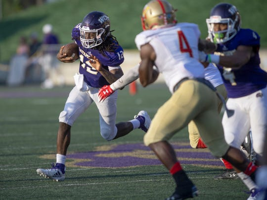 Tyrie Adams rushed for 117 yards in win over the VMI Keydets on Saturday.