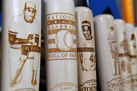 Bat mugs made by Young Bat Company in Fletcher.