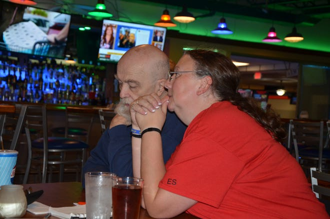 Tom Cummins and Kathy Seedorff play DJ Trivia at Strikers Sports Bar on Tuesday, September 25, 2018.