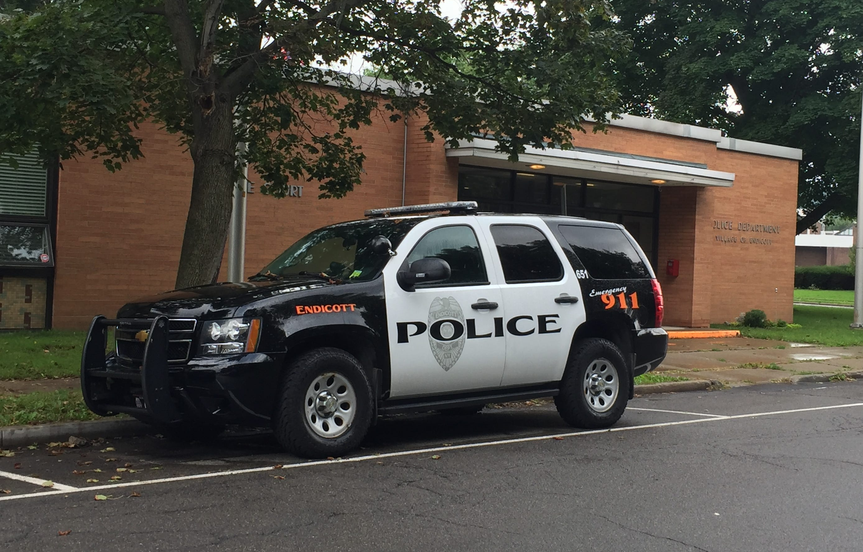 An Endicott police vehicle outside the police station.