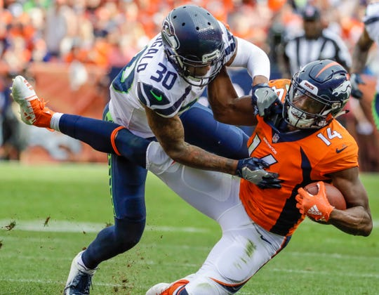 Seahawks safety Bradley McDougald has 17 solo tackles, including this one of Broncos wide receiver Courtland Sutton  on Sept. 9. No NFL strong safety has more solo tackles this season than McDougald.