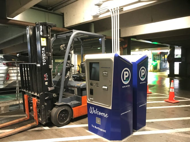 New parking payment kiosks in the College Street garage seen on Sept. 26, 2018