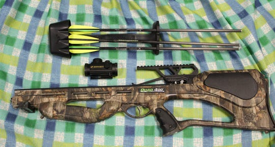 A man riding a bike he allegedly stole was also carrying this crossbow, which Evesham Police believe was also stolen.