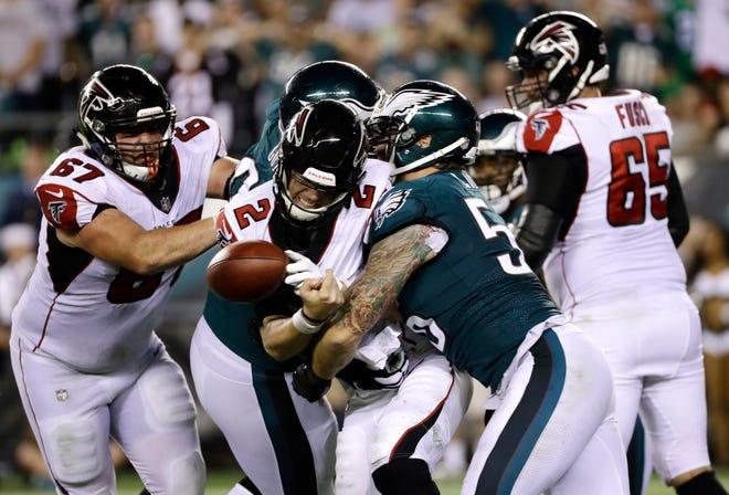 Eagles defensive end Chris Long Falcons quarterback Matt Ryan to fumble during the teams' season-opener on Sept. 6.
