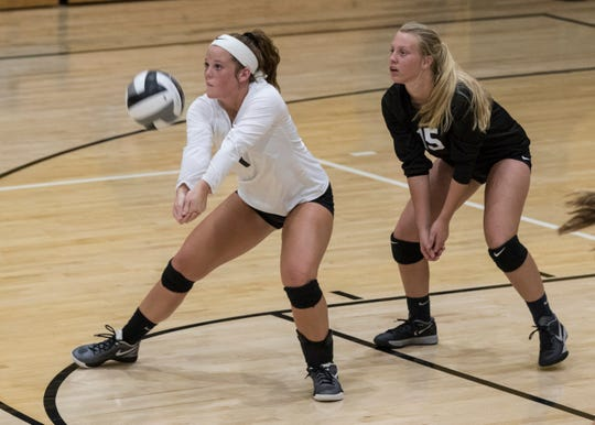 Lea McFadden goes in for a successful dig against Adena Tuesday night at Paint Valley High School. McFadden successfully surpassed 1,000 digs her senior year.