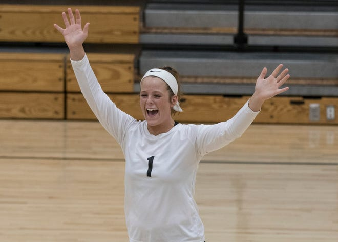 Lea McFadden celebrates after scoring against Adena Tuesday night at Paint Valley High School.