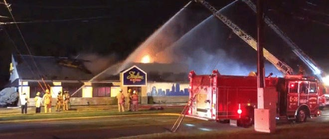 Crews fight a large fire at the Skyline Chili restaurant on Hicks Boulevard in Fairfield on Wednesday morning.